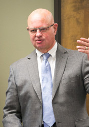 Johnson County Election Commissioner Ronnie Metsker at Monday's canvass board meeting.