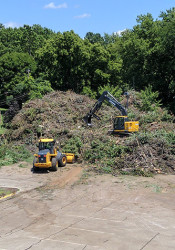 Overland Park crews used the parking lot at Young's Pool to collect debris from the storms. Photo via city of Overland Park.
