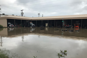 Leawood's parks shop was submerged in recent flooding, causing major damage to equipment. Photo via Leawood Public Works.