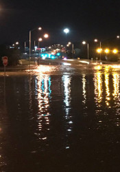 103rd Street and State Line Road was completely submerged early this morning. Photo via Johnson County Emergency Management.