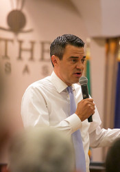 Rep. Kevin Yoder participated in his first in-person town hall in more than a year Tuesday.