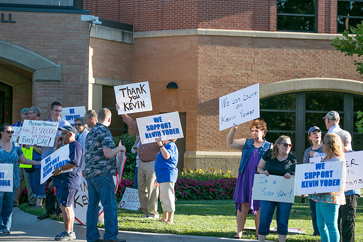Supporters of Kevin Yoder lined the sidewalks outside Olathe City Hall Tuesday.