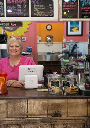 Sandy Russell behind the counter at Twisted Sisters.