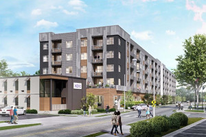 A rendering of the proposed apartment complex on Martway.