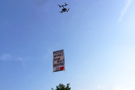 The drone that flew the banner over the Prairie Village Jazz Festival. Submitted photo