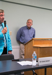 Dr. Craig Denny, the SM West area incumbent, speaking at a primary forum this summer.