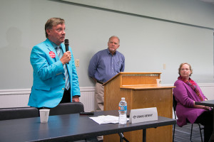 Dr. Craig Denny, the SM West area incumbent, speaking at our primary forum this summer.