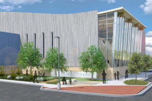 A rendering of the new aquatics center that will break ground in October.