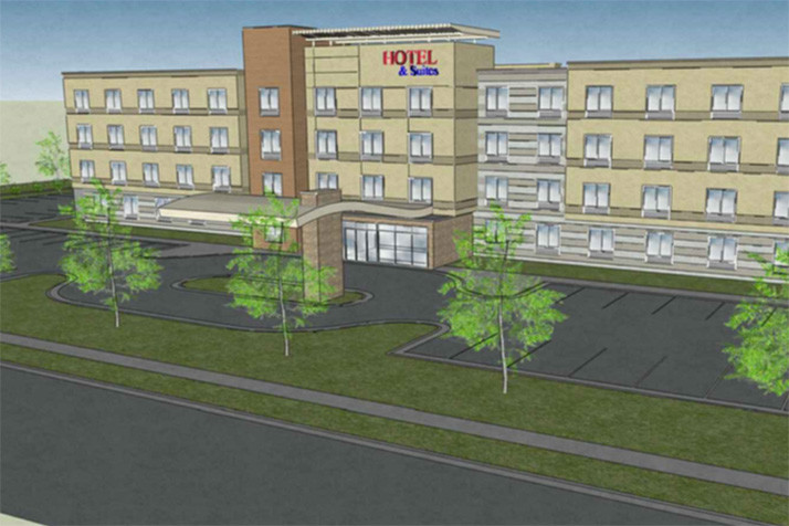 A preliminary rendering of the proposed hotel.