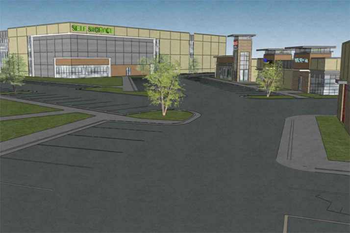 A rendering of the self storage and retail portions of the project.