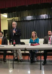 Candidates for public office (from left) Roger Cooper, Mike Kelly, Tom Madigan, Jen Hill, Leonardo Tocco and Jim Kelly participated in a forum at the Roeland Park Community Center Monday.