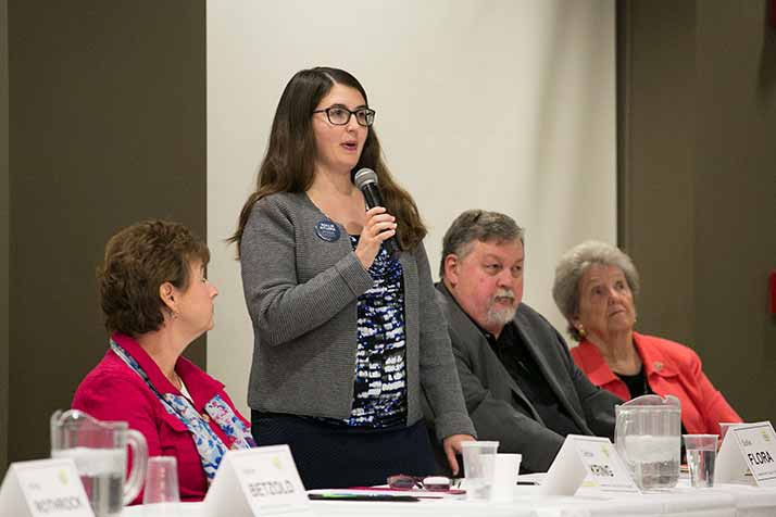 Ward IV candidates Sollie Flora (standing) Bill Nichols and incumbent Suzie Gibbs (far right) were among the participants in Tuesday's forum.
