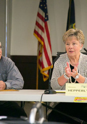 Councilmembers Jim Poplinger and Melanie Hepperly are running to replace Jerry Wiley as Fairway mayor.