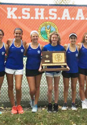 Kansas City Christian's girls tennis team won its first-even state title. Photo via Twitter.