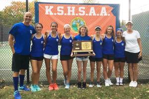 Kansas City Christian's girls tennis team won its first-even state title. Photo via Twitter.