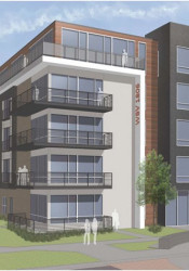 A rendering of the five-story residential building that's part of the Westbrooke Village proposal.
