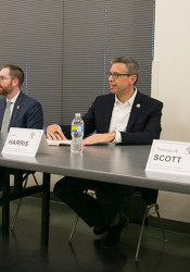 Lisa Cummins (from left), Jason Hannaman, Jeff Harris and Thomas Scott participated in a candidate forum at Westwood City Hall Tuesday.
