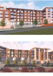 A rendering of the apartment portion of the proposed complex.