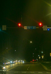 "The blue ""confirmation lights"" are not in use at 75th Street and Mission Road and 75th Street and Roe Avenue."
