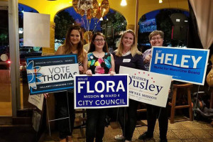 Winning candidates (from left) Hillary Parker Thomas, Sollie Flora, Heather Ousley and Kay Heley. Photo via Heley on Facebook.