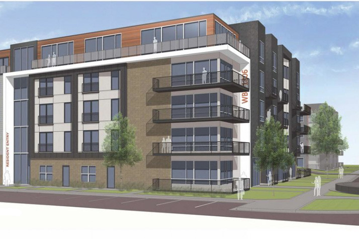 A rendering of the apartment complexes that would be part of the Westbrooke Green development.