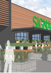 A rendering of one of the retail buildings that is proposed for the site.