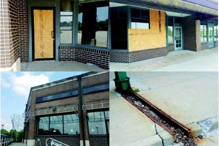 Much of the shopping center is vacant and suffering from disrepair and vandalism. Photos via city of Shawnee.