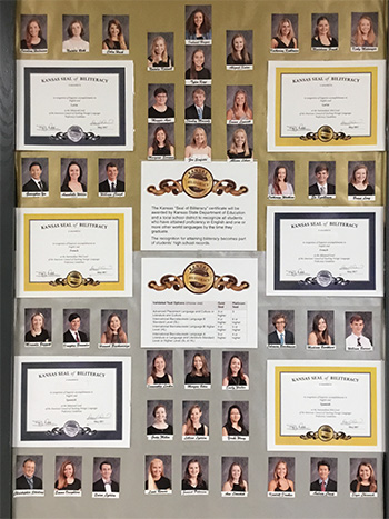 A display acknowledging the SM East students who qualified for the Kansas biliteracy seals.