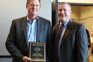 Eric Wade (left) with Lenexa Mayor Michael Boehm.