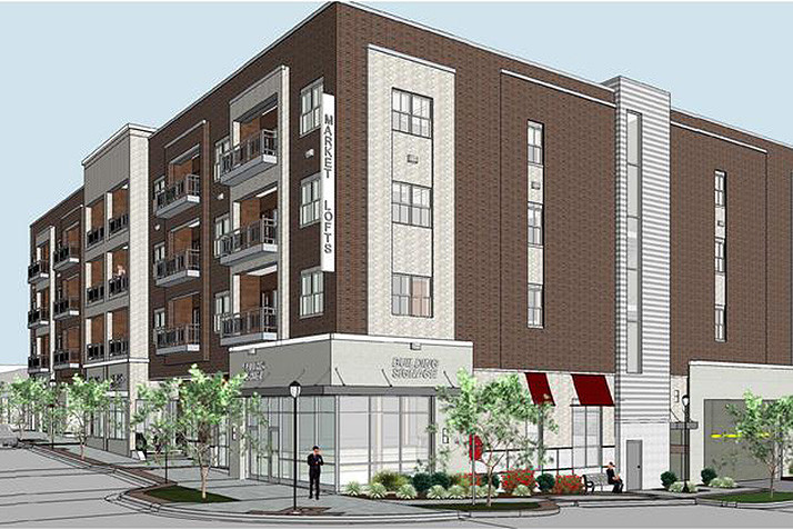 A rendering of the Market Lofts, which had been initially scheduled to open this year.