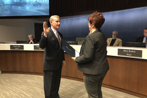 After being appointed by Mayor Michael Boehm, Dan Roh was sworn on to the Lenexa City Council Tuesday. Photo courtesy city of Lenexa.