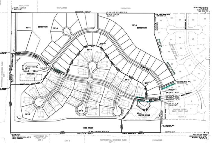The site plan for the new Bristol Highlands development in Lenexa.