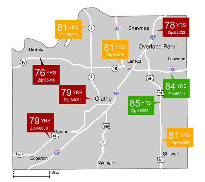 The UCS slide showing the life expectancy disparity among Johnson County communities.