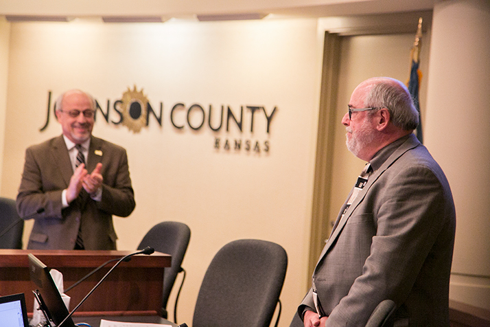 County Manager Hannes Zacharias received a standing ovation ahead of the Dec. 7 Board of County Commissioners meeting.