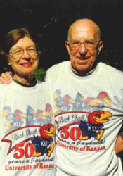 Hal and Wilda Sandy at the 1996 parade marking the 50th anniversary of his Jayhawk design.