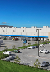 A rendering of the Lineage Logistics facility that had been proposed for the New Century AirCenter.