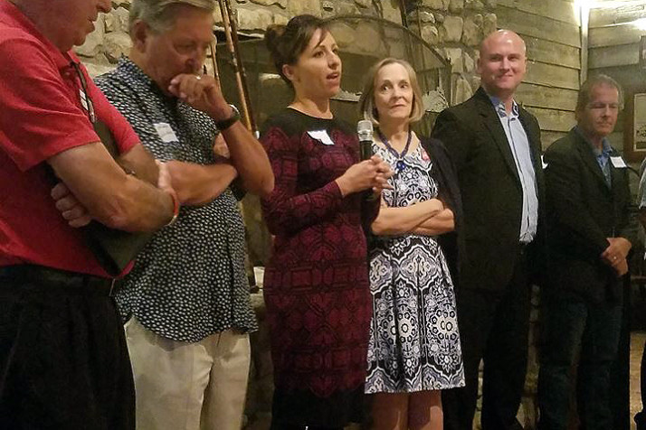 Gina Burke, center, speaking at a meeting of the Republican Sunflower Club in September. Photo via Facebook.