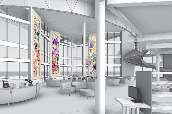 A rendering of the installation that will go in the new library in Lenexa.