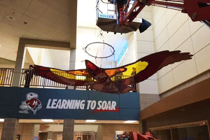 Crews hoisting Learning to Soar into place in the Highlands entry area after Christmas. Submitted photo.