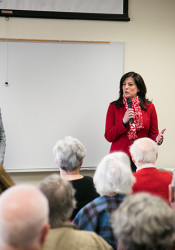 Sen. Barbara Bollier (left) and Rep. Melissa Rooker held a town hall meeting Saturday ahead of the start of this year's legislative session.