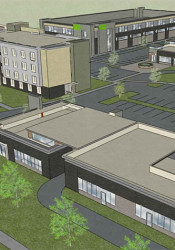 An overhead view of the project plan looking toward the northwest.
