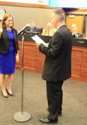 Ward 4 Councilwoman Lindsey Constance taking the oath of office. Photo courtesy city of Shawnee.