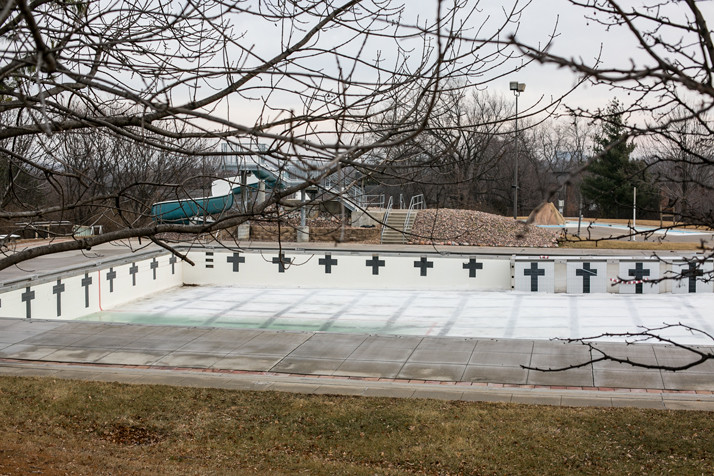 The pool is uncovered and unused this winter.