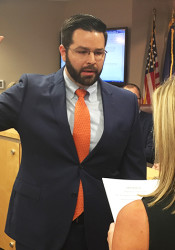 Mike Kelly took the oath of office as Roeland Park's new mayor on Monday.