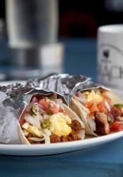 Breakfast tacos from Shack. Photo via Facebook.