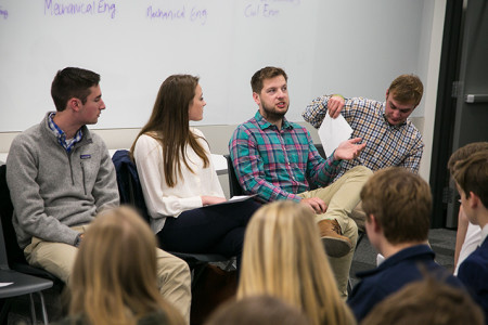Shawnee Mission graduates who have enrolled in college engineering programs talked with students during a panel discussion.