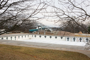 The pool sits uncovered and unused this winter after the inflatable dome became inoperable.