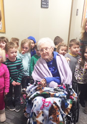Jessie Kirkbride got a special birthday surprise from 3 years olds at Rolling Hills.