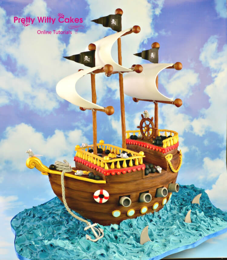 Pirate Ship Cake Tutorial at Pretty Witty Academy