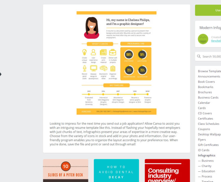 Canva Screen Shot of Infographic